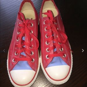 Converse all star red baby blue low top sneakers